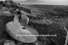 Millstone on Curbar gritstone edge, Peak District