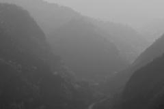 Misty mountain valleys, Qian Ganjian village, China