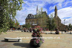 The Town Hall and St Anne's church, Market place, Bishop Auckland town, County Durham, England.
