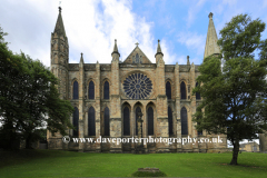 East elevation of Durham Cathedral, Durham City, County Durham, England.