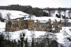 Winter, snow, January, February, Snow Egglestone Abbey, Barnard Castle, County Durham, England, Uk