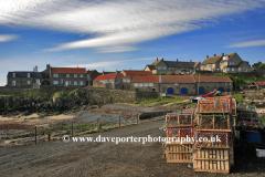 View over Craster village harbour