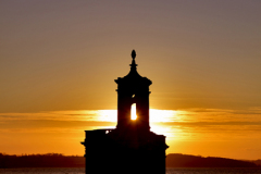 Sunset over Normanton church, Rutland Water