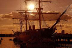 Sunset over HMS Warrior, Portsmouth harbour