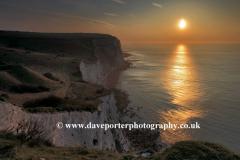 Summer June, July, Sunrise, White Cliffs of Dover, Dover town; Kent; England, UK