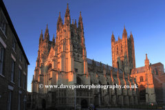 Sunset over the West and South elevation of Canterbury Cathedral, Canterbury City