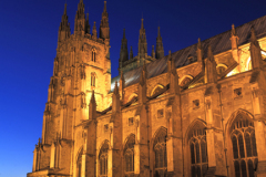 Evening view West and South elevations of Canterbury Cathedral