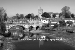 view of St Peter and St Pauls church, river Medway, Aylesford village, Kent, England, UK