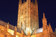 Dusk view of the South elevation of Canterbury Cathedral