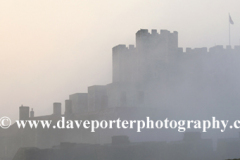 Summer June, July, Misty dawn, Dover Castle, Dover Town, Kent County; England; UK