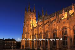 Dusk view of the West and South elevations of Canterbury Cathedral