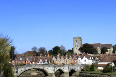 St Peter and St Pauls parish church, river Medway, Aylesford village