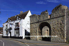 The White horse pub and Priory ruins, Dover town