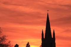 Sunset, St Andrews church, village of West Deeping