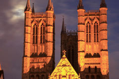 Lincoln cathedral at night