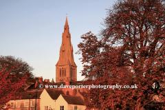 Sunset over Saint Marys church, Stamford