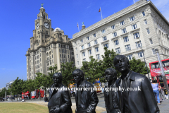 The Beatles statues, George's Parade, Pier Head, UNESCO World Heritage Site, Liverpool, Merseyside, England, UK