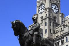 King Edward 7th Statue, George's Parade, Pier Head, UNESCO World Heritage Site, Liverpool, Merseyside, England, UK