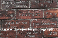 The Wall of Fame outside the Cavern club in Mathew Street, Liverpool City, Merseyside, England, UK