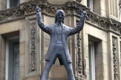 Statue of Ringo Star on the Hard Day's Night Hotel, Liverpool, Merseyside, England, UK