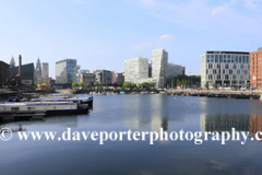 View over Salthouse Dock, Royal Albert Dock, George's Parade, Pier Head, UNESCO World Heritage Site, Liverpool, Merseyside, England, UK