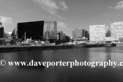 View over Canning Dock, Royal Albert Dock, George's Parade, Pier Head, UNESCO World Heritage Site, Liverpool, Merseyside, England, UK