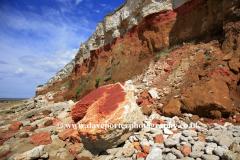 Brownstone and Chalk Cliffs, Hunstanton town, North Norfolk Coast, England UK