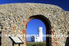 Spring, Old Hunstanton lighthouse and the remains of St Edmund's Chapel, Norfolk, England, UK
