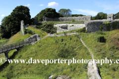 Summertime view of the ruins of Castle Acre Castle, Castle Acre village, North Norfolk, England, UK