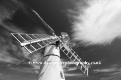 Summer, Thurne windmill, river Thurne, Norfolk Broads National Park, England, UK