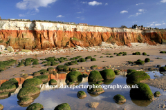 The beach and Brownstone Cliffs, Hunstanton town, Norfolk, England, Uk