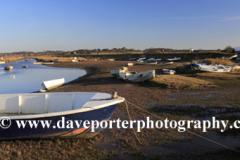 Fishing boats in the Morston Salt Marshes, Morston village, North Norfolk Coast, England, UK
