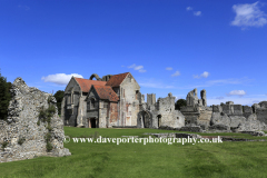 Summertime view of the ruins of Castle Acre Priory, Castle Acre village, North Norfolk, England, UK