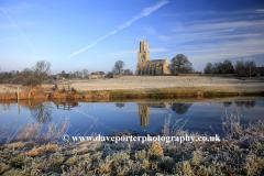 December, January, Winter Frost, St Marys Church, river Nene, Fotheringhay, Northamptonshire, England, UK
