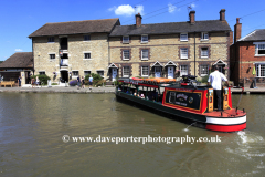 Narrowboats on the Grand Union Canal, Stoke Bruerne national canal museum, Northamptonshire, England; Britain; UK