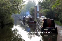 Narrowboats on the Grand Union Canal at Braunston village, Northamptonshire, England; Britain; UK