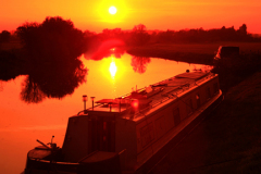 Sunset over Narrowboat, Fotheringhay, Northamptonshire