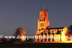 Dusk colours, St Marys church, Fotheringhay village, Northamptonshire, England, UK
