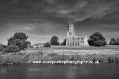Summer; August; September; St Marys Church, river Nene, Fotheringhay village, Northamptonshire, England, UK