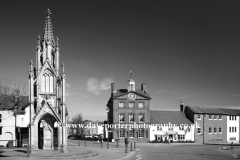 The Market cross in Daventry town, Northamptonshire, England, Summer; August; September;
