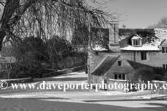 December, January, Winter snow; Duddington village; Northamptonshire; England; UK