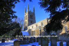 Winter, December, January, All Saints church, Easton on the Hill village, Northamptonshire England; Britain; UK