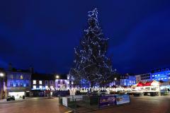 Christmas tree in market square,  Cultural Quarter, Northampton town, Northamptonshire, England; Britain; UK
