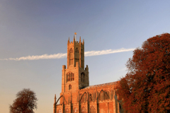 J02553 Sunset St Marys Church Fotheringhay Village Northamptonshire England Britain UK