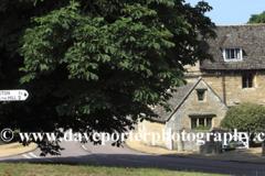 Summer view of stone cottages in Duddington village, Northamptonshire, England; Britain; UK