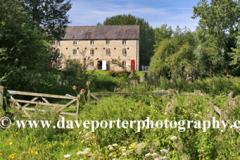 Watermill, river Nene, village of Warmington, Northamptonshire county, England, UK
