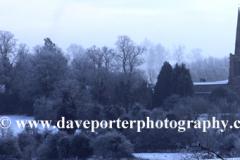 Winter snow, St Nicholas church, Bulwick village, Rockingham Forest, Northamptonshire, England; Britain; UK