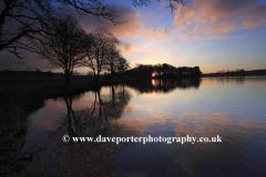 Winter, February, Sunset over Blatherwyke village Lake, Northamptonshire; England; Uk