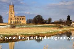 Fotheringhay church, river Nene, Fotheringhay, Northamptonshire, England, UK