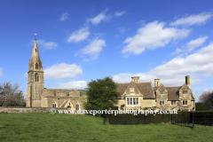 All Saints Church and Pilton Manor, Pilton village, Northamptonshire, England, UK